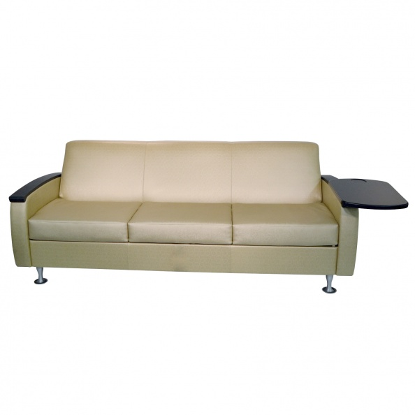 Bed, Sofa- Tan Vinyl, Attached Side Table HILLROM 