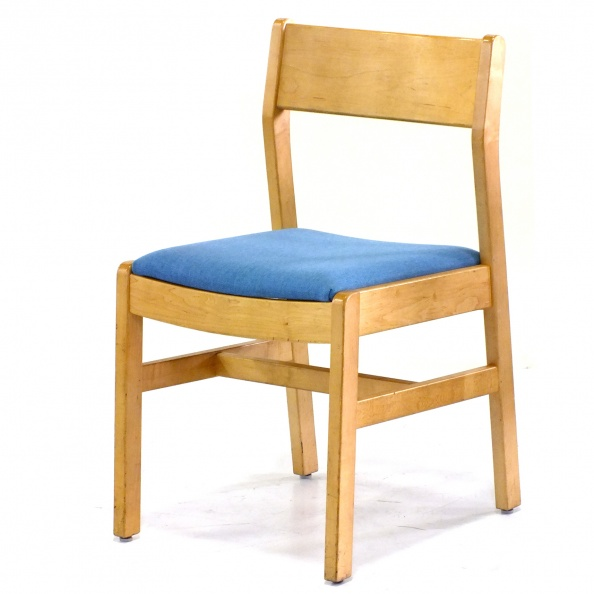 Chair, Visitor- Blonde Oak, Blue Fabric, HILLROM