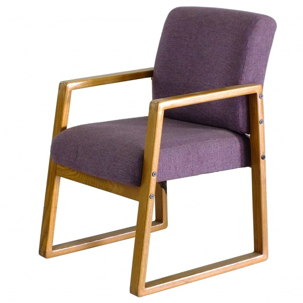 Chair, Visitor- Poly, Mauve Fabric, Oak Arms
