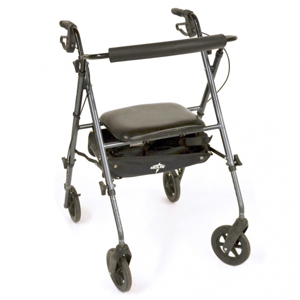 Walker- Dark Chrome, Black Vinyl Seat MEDLINE