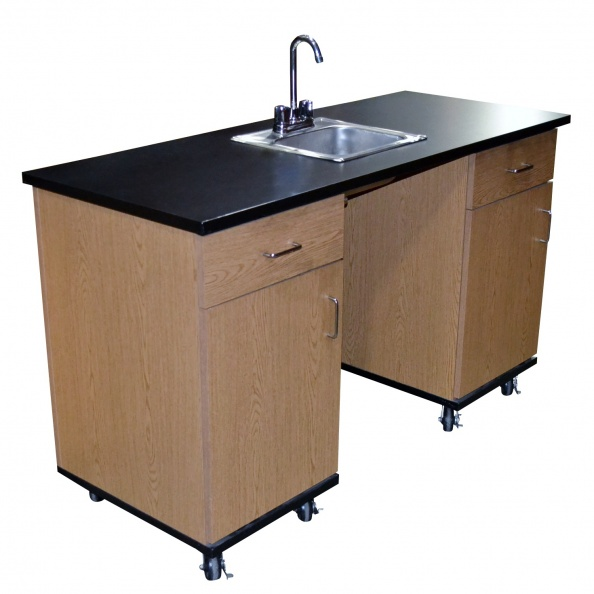 Counter, Lab- 5' Rolling Oak, Black Top, Sink
