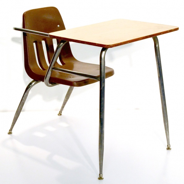 Desk, School- Brown Plastic Seat
