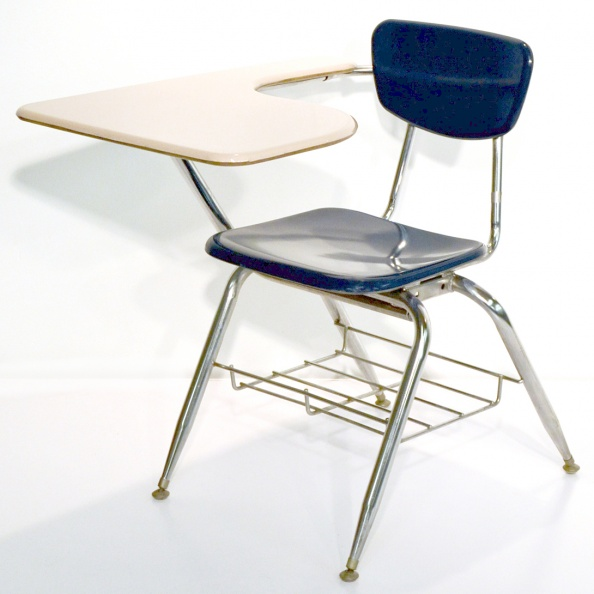 Desk, School- Blue Chair- Beige Top 
