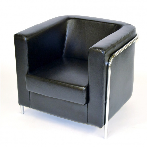 Chair, Club- Black Leather- Chrome Tubing 