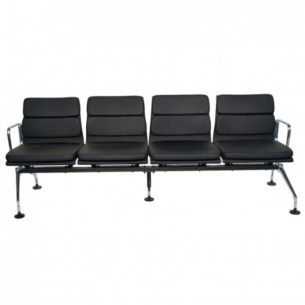 Seat Unit- Black- 4 Seat Tandem Waiting Unit