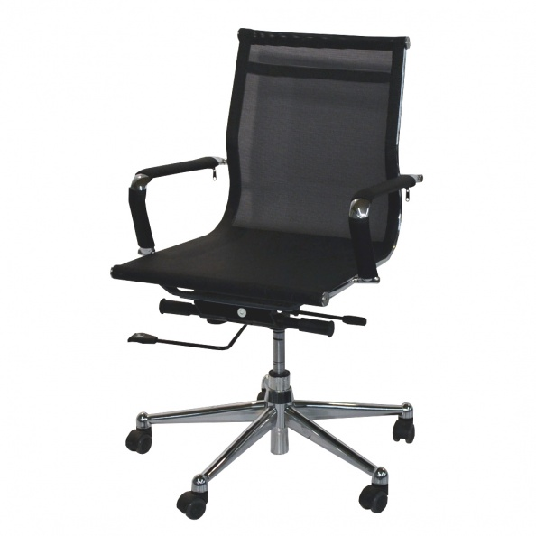 Chair- Black Mesh Fabric- Chrome Frame/Swivel