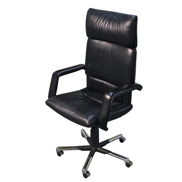 Chair, Office- High Back, Black, Chrome Swivel 