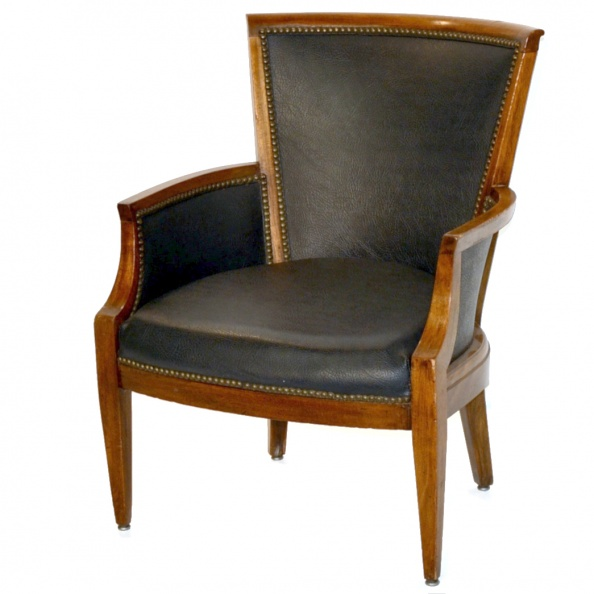 Chair- Mahogany- Black Leather Upholstery
