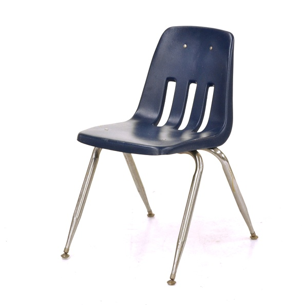 Chair, School- Stackable, 3 Slits, Blue