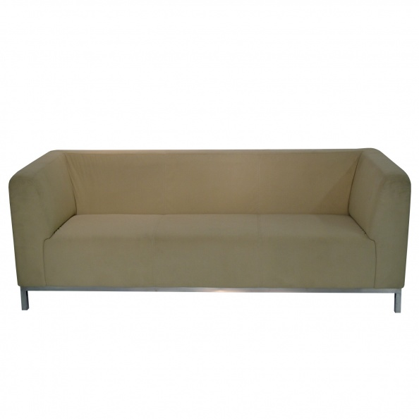 Sofa- Beige Fabric, Chrome Base