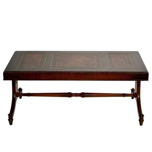 Table, Coffee- Duncan Phyfe, Brown Leather Top