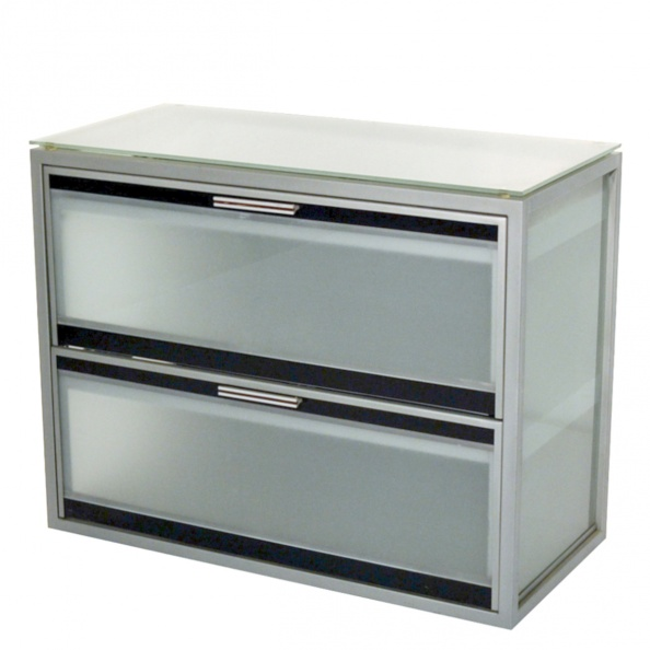 Cabinet, File- Steel, Lat, 2 Drawer- Glass