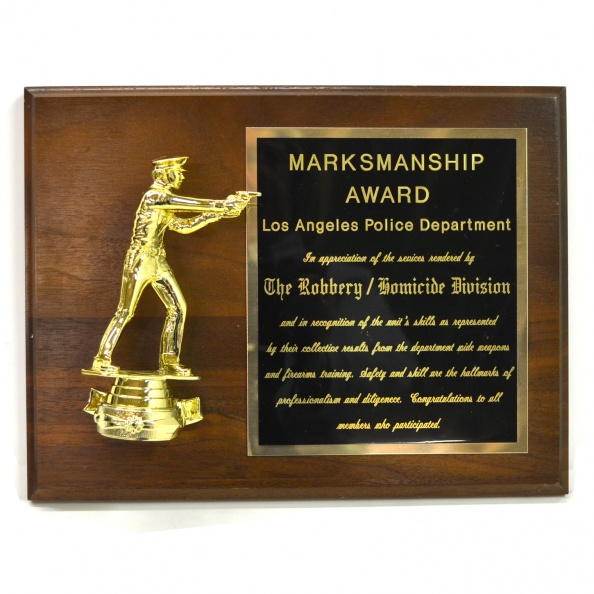 Award, Plaque- Marksmanship Award, LAPD