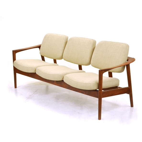 Sofa- 3 Seat, Mid-Century Modern, Wood Frame
