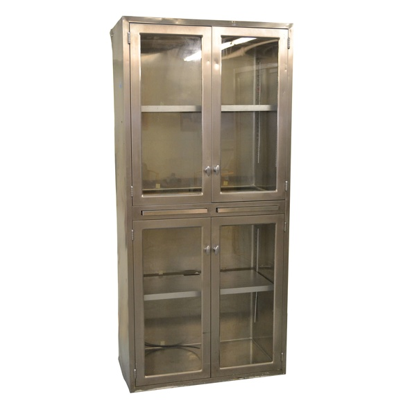 Cabinet, Storage- SSteel W/ 4 Doors, 2 Pull-outs 