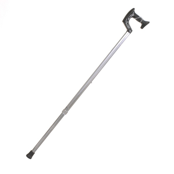 Cane, Walking- Aluminum, Pistol Grip, Black Grip