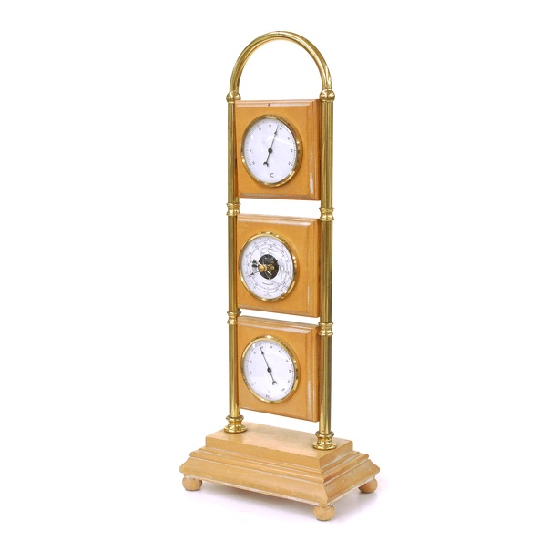 Barometer, Desktop- Blonde Oak & Brass