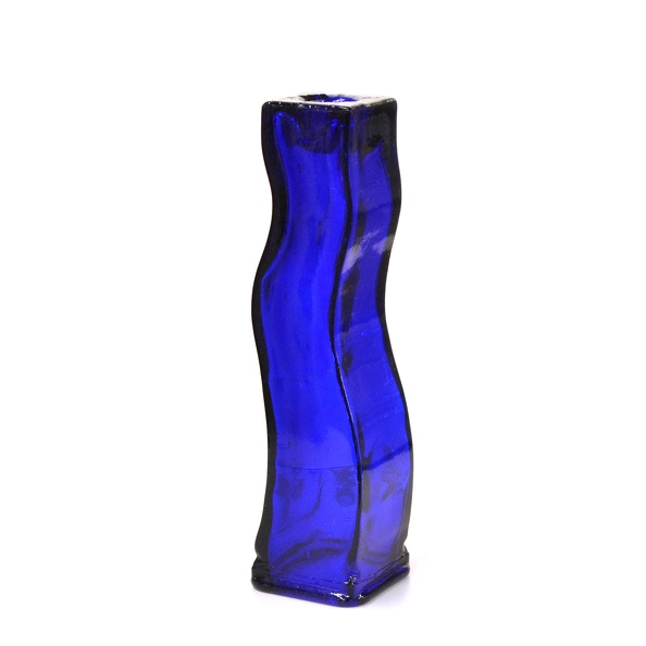 Holder, Candle- Glass, Wavy, Cobalt Blue