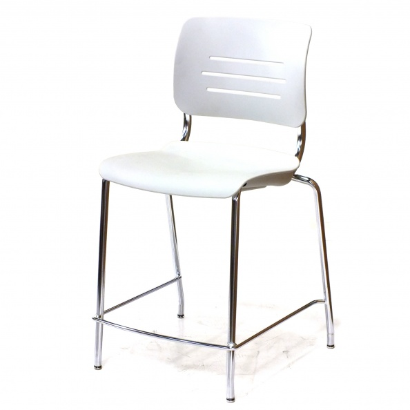 Chair, Cafe- Stool, No Arms, Metal, White