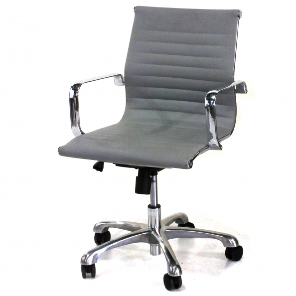 Chair, Office- Low Back, Grey Leather, Chrome