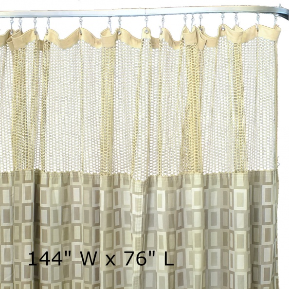 "Curtain, Hospital- Green Boxes, 144"" X 76""
